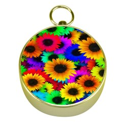 Colorful Sunflowers Gold Compass