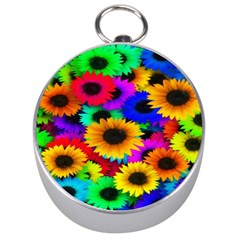 Colorful Sunflowers Silver Compass