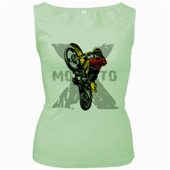 Moto X Wheelie Women s Green Tank Top