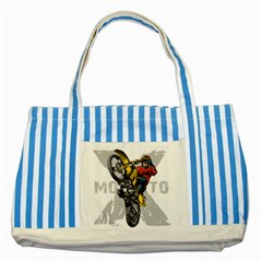 Moto X Wheelie Striped Blue Tote Bag