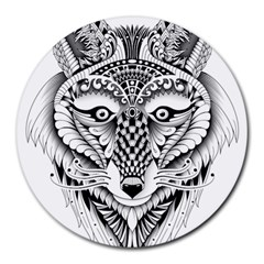 Ornate Foxy Wolf 8  Mouse Pad (Round)