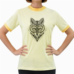Ornate Foxy Wolf Women s Ringer T-shirt (Colored)