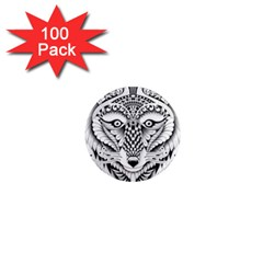 Ornate Foxy Wolf 1  Mini Button Magnet (100 Pack)