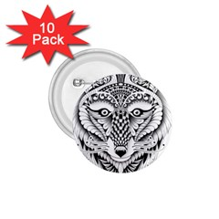 Ornate Foxy Wolf 1 75  Button (10 Pack)