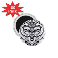 Ornate Foxy Wolf 1.75  Button Magnet (100 pack)