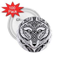 Ornate Foxy Wolf 2.25  Button (100 pack)