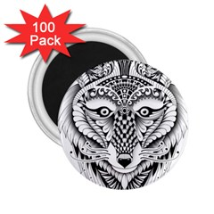 Ornate Foxy Wolf 2.25  Button Magnet (100 pack)