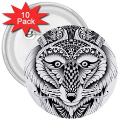 Ornate Foxy Wolf 3  Button (10 pack)