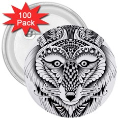 Ornate Foxy Wolf 3  Button (100 pack)