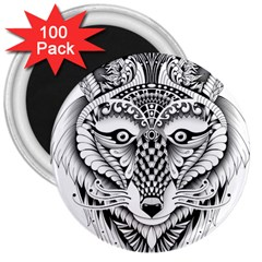 Ornate Foxy Wolf 3  Button Magnet (100 pack)