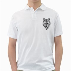 Ornate Foxy Wolf Men s Polo Shirt (White)