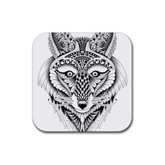 Ornate Foxy Wolf Drink Coasters 4 Pack (Square)