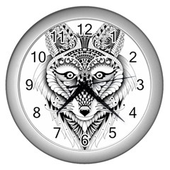 Ornate Foxy Wolf Wall Clock (silver)