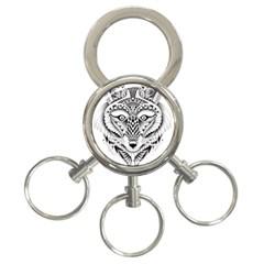 Ornate Foxy Wolf 3-Ring Key Chain