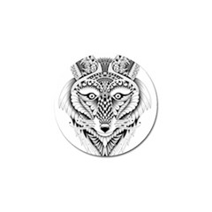 Ornate Foxy Wolf Golf Ball Marker 4 Pack