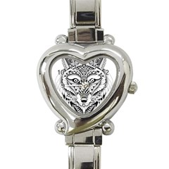 Ornate Foxy Wolf Heart Italian Charm Watch