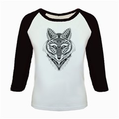Ornate Foxy Wolf Kids Long Cap Sleeve T-Shirt