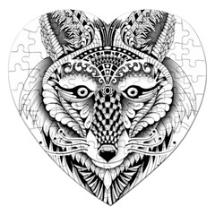 Ornate Foxy Wolf Jigsaw Puzzle (Heart)