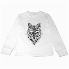 Ornate Foxy Wolf Kids Long Sleeve T-Shirt