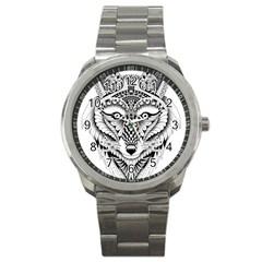 Ornate Foxy Wolf Sport Metal Watch