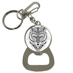 Ornate Foxy Wolf Bottle Opener Key Chain