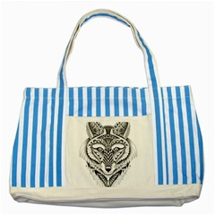 Ornate Foxy Wolf Blue Striped Tote Bag