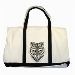 Ornate Foxy Wolf Two Toned Tote Bag