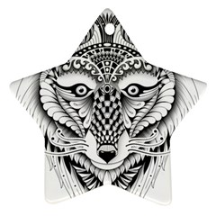 Ornate Foxy Wolf Star Ornament (Two Sides)