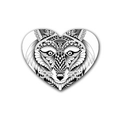 Ornate Foxy Wolf Drink Coasters 4 Pack (Heart)