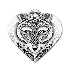 Ornate Foxy Wolf Dog Tag Heart (Two Sided)