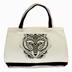 Ornate Foxy Wolf Twin-sided Black Tote Bag