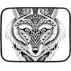 Ornate Foxy Wolf Mini Fleece Blanket (Two Sided)