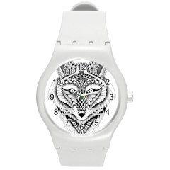 Ornate Foxy Wolf Plastic Sport Watch (medium)