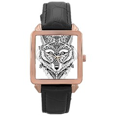 Ornate Foxy Wolf Rose Gold Leather Watch
