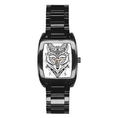 Ornate Foxy Wolf Stainless Steel Barrel Watch