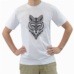 Ornate Foxy Wolf Men s T-Shirt (White)