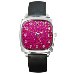 Polka Dot Sparkley Jewels 1 Square Leather Watch