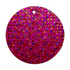 Polka Dot Sparkley Jewels 1 Round Ornament (two Sides)