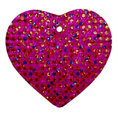 Polka Dot Sparkley Jewels 1 Heart Ornament (Two Sides)