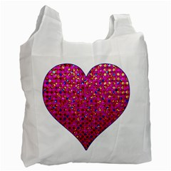 Polka Dot Sparkley Jewels 1 White Reusable Bag (two Sides)