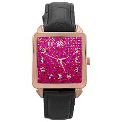 Polka Dot Sparkley Jewels 1 Rose Gold Leather Watch