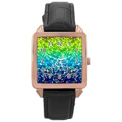 Glitter 4 Rose Gold Leather Watch