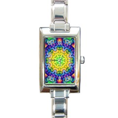 Psychedelic Abstract Rectangular Italian Charm Watch