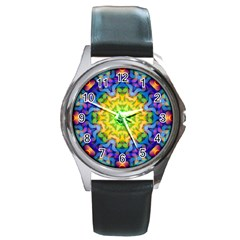 Psychedelic Abstract Round Leather Watch (silver Rim)