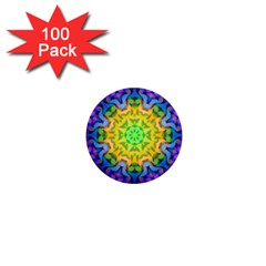 Psychedelic Abstract 1  Mini Button Magnet (100 Pack)