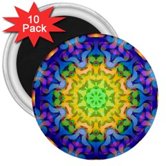 Psychedelic Abstract 3  Button Magnet (10 pack)