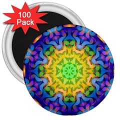 Psychedelic Abstract 3  Button Magnet (100 Pack)