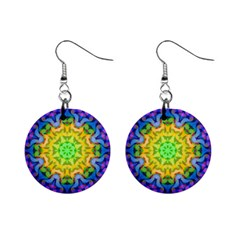 Psychedelic Abstract Mini Button Earrings