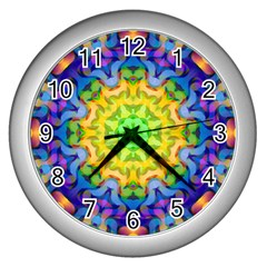 Psychedelic Abstract Wall Clock (Silver)