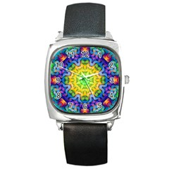 Psychedelic Abstract Square Leather Watch